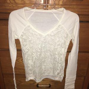 Long sleeve lace white shirt